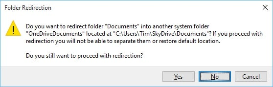 Move Default Save Location to OneDrive Folder Redirection