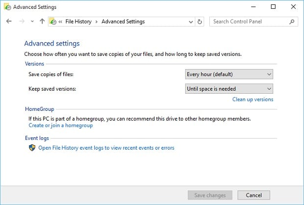 Setup Windows 10 File History - Advanced Settings