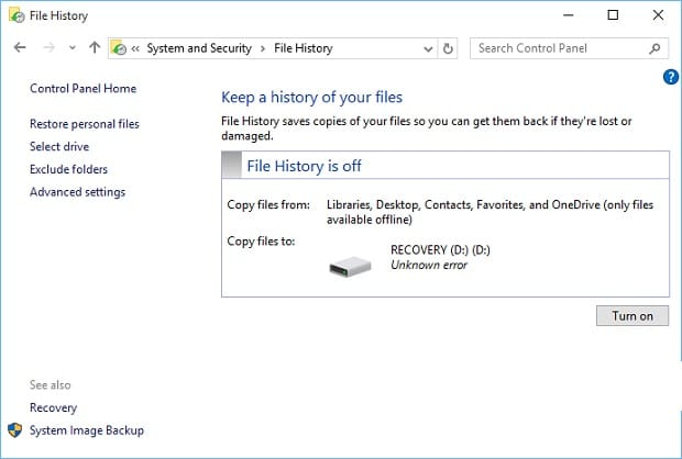 Setup Windows 10 File History - File History Off