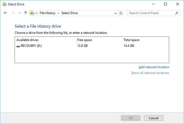 Setup Windows 10 File History - File History Target Select