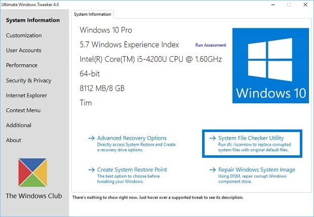 Ultimate Windows Tweaker 4.0 for Surface - SFC