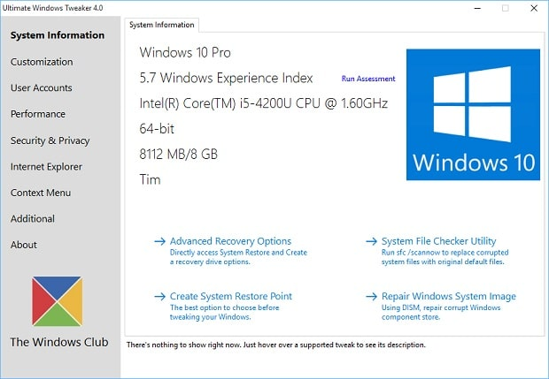 Ultimate Windows Tweaker 4.0 for Surface