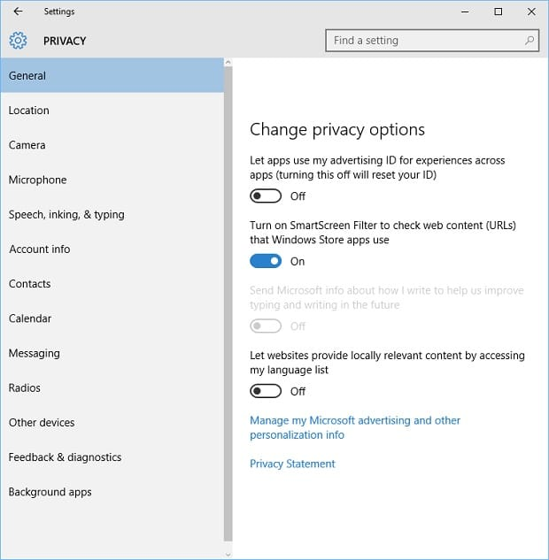 Windows 10 Privacy Issues on Surface Settings