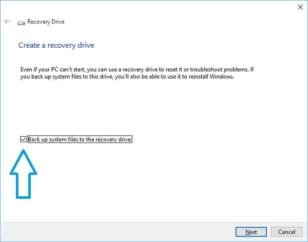 Create a Windows 10 Recovery Drive 1