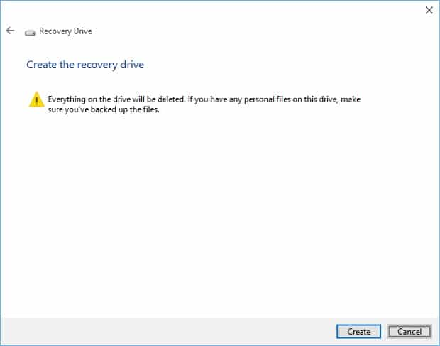 Create a Windows 10 Recovery Drive 3