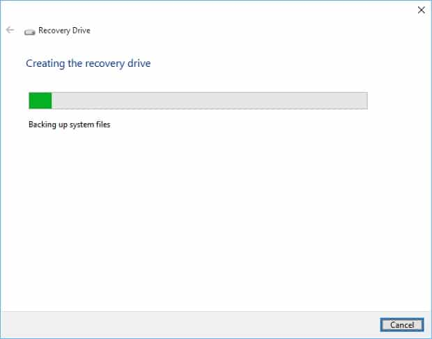 Create a Windows 10 Recovery Drive 4