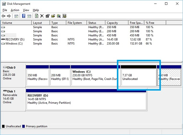 Reclaim Space After Windows Merge 2