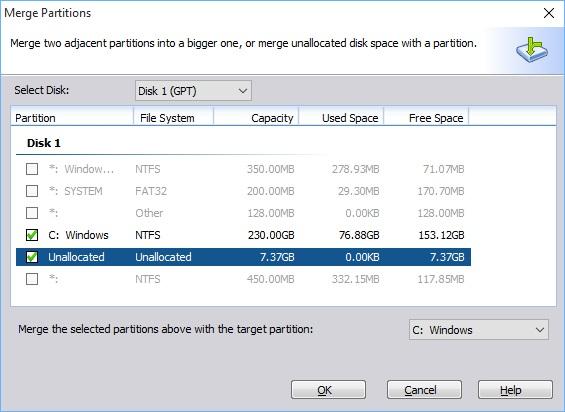 Reclaim Space After Windows Merge 4