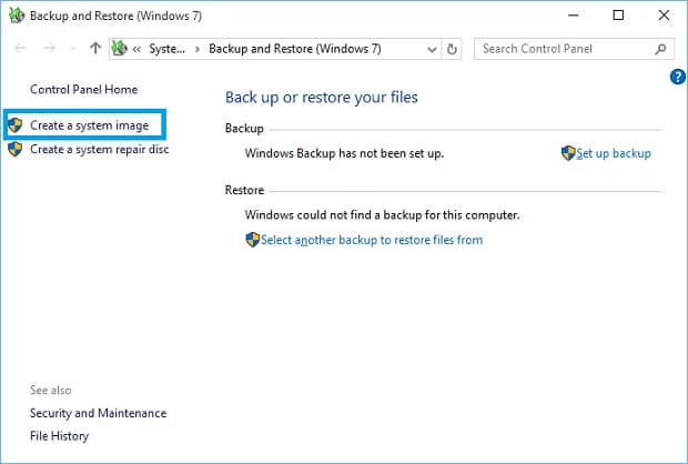 Windows 10 Backup and Recovery - Create System Image