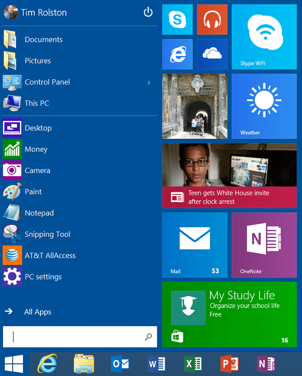 Windows RT Update 3 - Start Menu