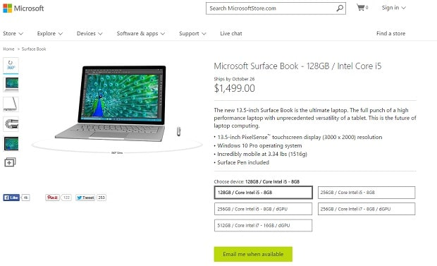 Now All Surface Book Models Are Sold Out
