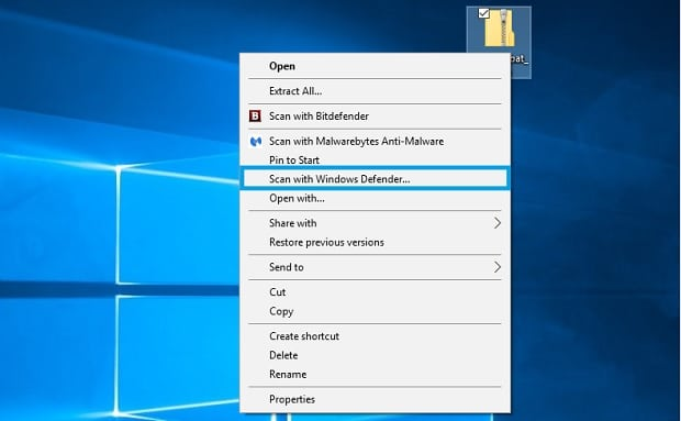 Remove the Scan with Windows Defender Option