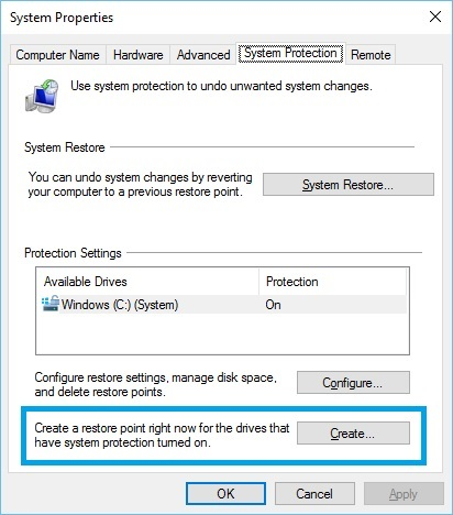 Using Windows 10 System Protection Manual