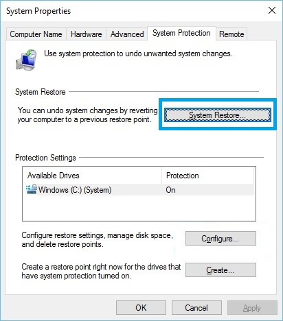 Using Windows 10 System Protection Restore
