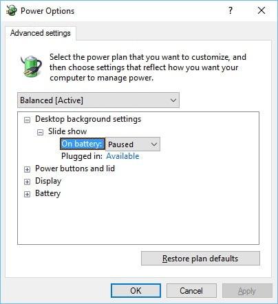 Windows 10 Power Settings Basic Advanced Power Options