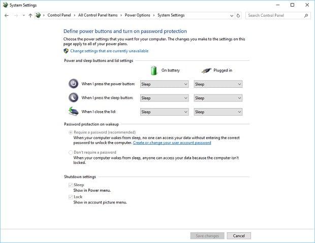 Windows 10 Power Settings Basic Example Options