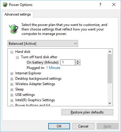 Windows 10 Power Settings NonCS Advanced Power Options