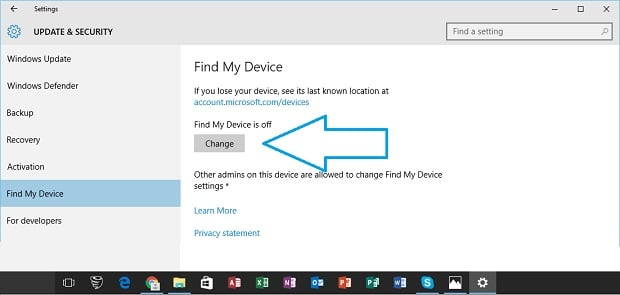 Configure Find My Device on Surface Config1