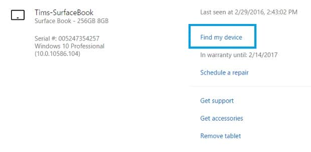 Configure Find My Device on Surface FMD