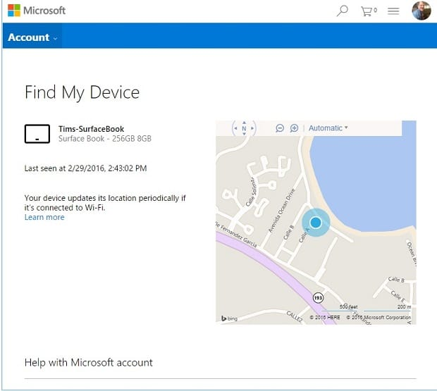 Configure Find My Device on Surface Map