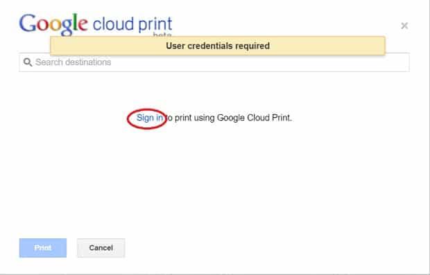 Google cloud print login