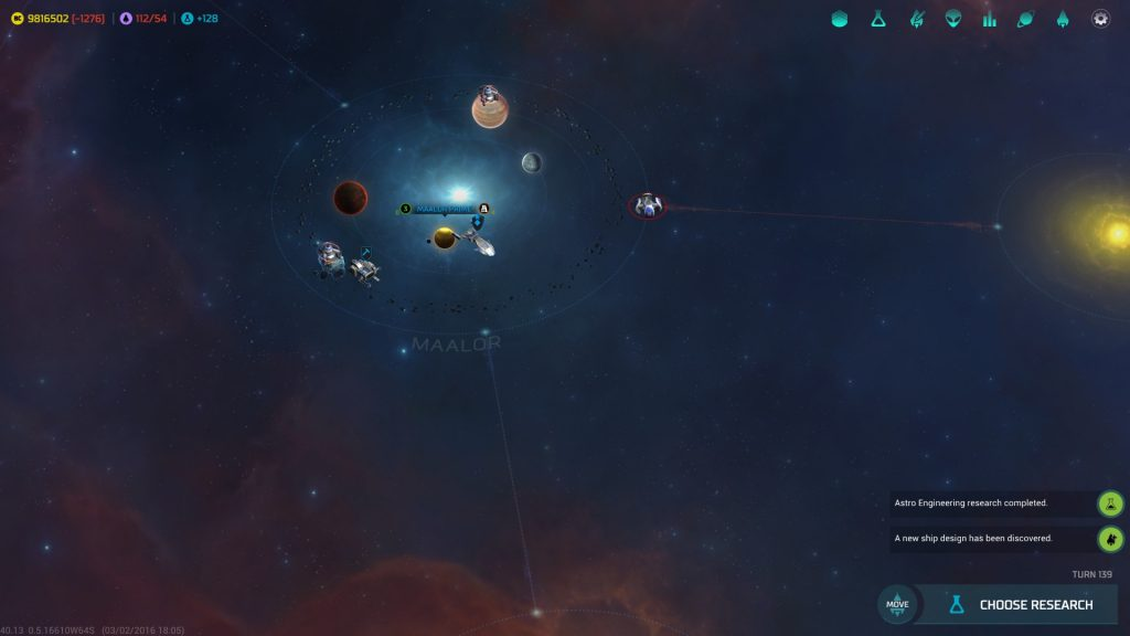 Master of Orion running on a Surface Book