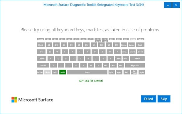 Surface Diagnostic Toolkit Keyboard Test