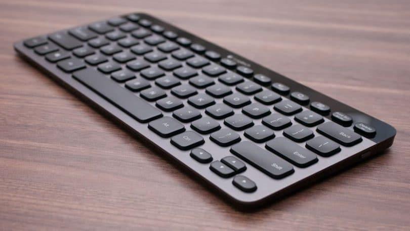black keyboard Logitech K810 a black keyboard