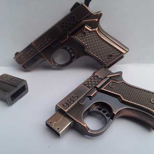 8gb bronze metal gun flash drive