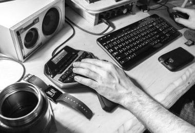 Man using a Logitech K380 Keyboard